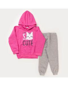 Conjunto com Casaco Pink de Capuz Gatinho e Calça Cinza em Moletom para Menina