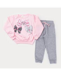 Conjunto de Inverno Casaco Rosa Laço e Calça Cinza para Menina