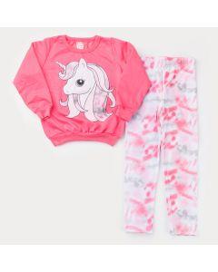 Conjunto de Inverno para Menina Casaco Rosa Unicórnio e Legging Tie Dye