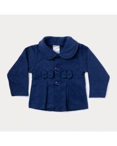 Casaco de Soft Bebê Menina Marinho com Laço