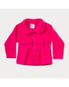 Casaco de Soft Bebê Menina Pink com Laço
