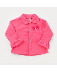 Casaco em Soft Pink para Menina com Laço e Botões