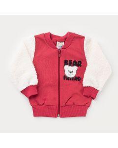 Jaqueta Bomber Vermelha Urso Peluciada para Bebê Menino