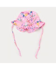 Chapéu de Praia Bebê Menina Rosa Estampado com Proteção UV