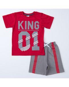Conjunto para Menino Blusa Vermelha Estampada e Short Cinza