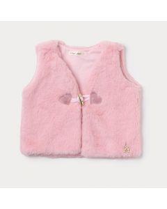Colete Rosa Bebê Menina com Pelo e Aplique de Coração