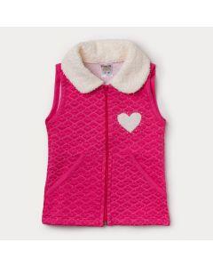 Colete Infantil Feminino em Matelassê Pink com Gola de Pelo