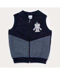Colete Infantil Masculino Azul Marinho com Zíper