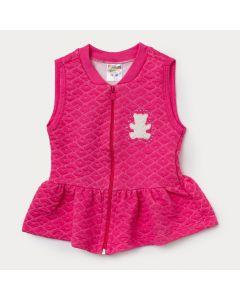 Colete Pink Infantil Feminino em Matelassê com Aplique