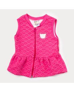 Colete Pink para Bebê Menina em Matelassê com Zíper