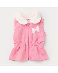 Colete em Matelassê Rosa com Elástico na Cintura e Zíper para Bebê Menina