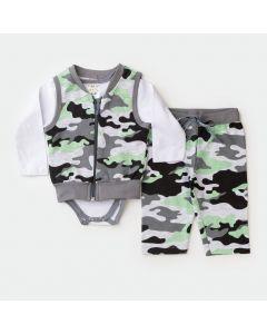 Conjunto de Frio 3 Peças Bebê Menino Body Branco Tigre com  Colete e Calça Militar