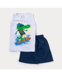 Conjunto Curto Masculino Infantil Regata Branca Jacaré e Bermuda Azul
