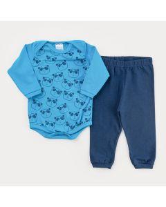Conjunto de Inverno para Bebê Menino Calça Marinho e Body Azul Panda