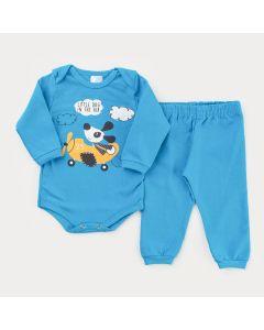 Conjunto de Inverno Azul para Bebê Menino Body Avião Manga Longa e Calça Básica