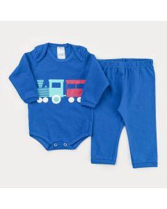 Conjunto de Inverno Azul para Bebê Menino Body Manga Longa Trenzinho e Calça Básica