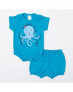 Conjunto Curto Azul Body Polvo e Short Básico para Bebê Menino