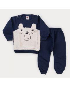 Conjunto de Moletom para Bebê Menino Casaco Urso Peluciado e Calça Marinho