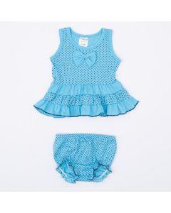 Conjunto com Blusa Bata Azul de Bolinha e Calcinha para Bebê Menina