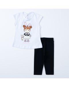 Conjunto Curto para Bebê Menina Blusa Branca Bonequinha e Legging Preta