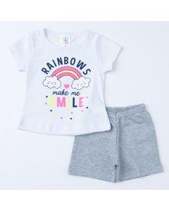 Conjunto de Verão Bebê Menina Blusa Branca Arco-Íris e Short Cinza