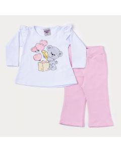 Conjunto de Frio Bebê Menina Blusa Branca Ursinho e Calça Rosa