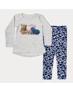 Conjunto de Inverno Infantil Menina Blusa Cinza Urso e Legging Marinho Estampada