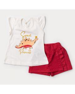 Conjunto Curto para Bebê Menina Blusa Marfim Dinossauro e Short Saia Vermelho