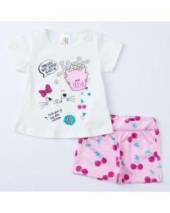 Conjunto Curto para Bebê Menina Blusa Marfim Gatinho e Short Rosa Cereja