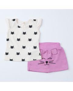 Conjunto de Verão para Bebê Menina Blusa Marfim Gatinho e Short Saia Lilás