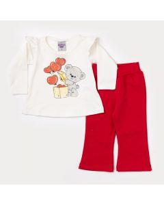 Conjunto de Frio Bebê Menina Blusa Marfim Ursinho e Calça Vermelha
