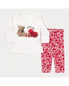 Conjunto de Inverno Bebê Menina Blusa Marfim Urso e Legging Vermelha Estampada