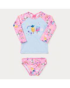 Conjunto Rosa para Bebê Menina com Blusa de Proteção UV e Calcinha de Biquíni
