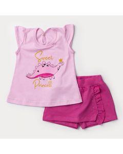 Conjunto Curto para Bebê Menina Blusa Rosa Dinossauro e Short Saia Pink