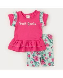 Conjunto Verão Bebê Menina Blusa Rosa Babado e Short Verde Flor