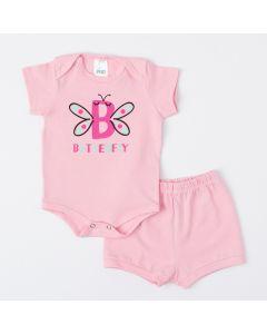 Conjunto Rosa para Bebê Menina Body Borboleta e Short Básico