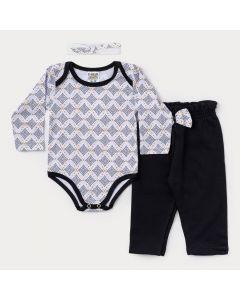 Conjunto Bebê Menina Body Manga Longa Branco e Calça Preta com Faixa de Cabelo