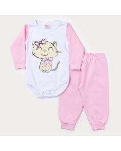 Conjunto Inverno Bebê Menina Calça Rosa Claro Body Manga Longa Gatinho