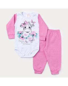 Conjunto Inverno Bebê Menina Body Branco Manga Longa Girafa e Calça Rosa