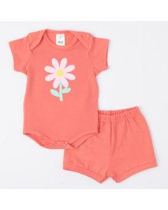 Conjunto de Verão Salmão para Bebê Menina Body Florzinha e Short Básico