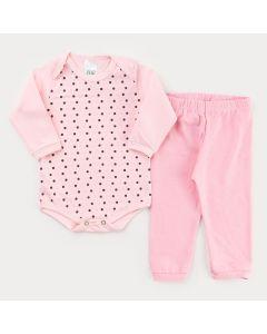 Conjunto de Inverno para Menina Body Rosa Manga Longa de Bolinha e Calça Rosa