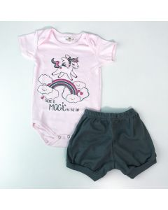 Conjunto de Verão Bebê Menina Body Rosa Unicórnio Short Cinza