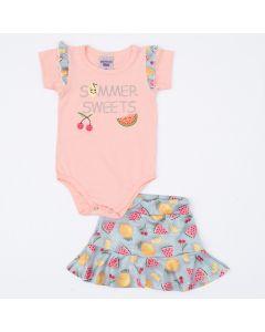 Conjunto Curto Bebê Menina Body Salmão e Saia Azul Frutinhas
