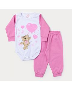 Conjunto Inverno Bebê Menina Body Manga Longa Branco Ursinho e Calça Rosa