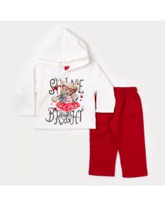 Roupa de Inverno Bebê Menina Blusa Manga Longa Marfim Urso e Calça Vermelha