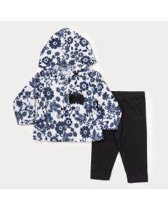 Conjunto de Inverno para Bebê Menina Casaco Marinho Floral e Legging Preta
