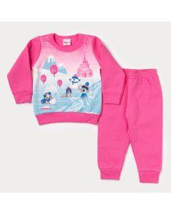 Conjunto de Roupa de Inverno Bebê Menina Blusa Estampada e Calça Rosa em Moletom