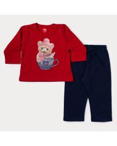 Conjunto de Moletom Bebê Menina Blusa Vermelha Ursinho e Calça Marinho