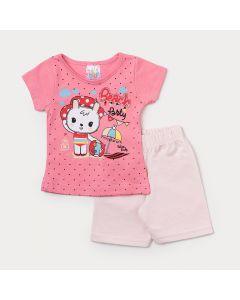 Conjunto de Roupa para Bebê Menina Camiseta Pink Estampada e Short Rosa