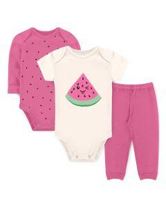 Kit Body 3 Peças Bebê Menina Bodies Rosa e Marfim Melancia e Calça Rosa
